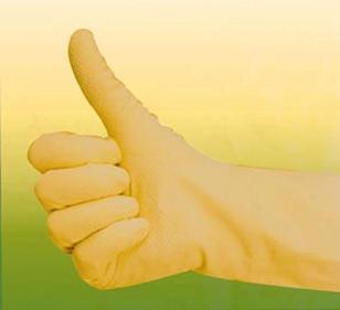 Handschoen latex geel/blauw